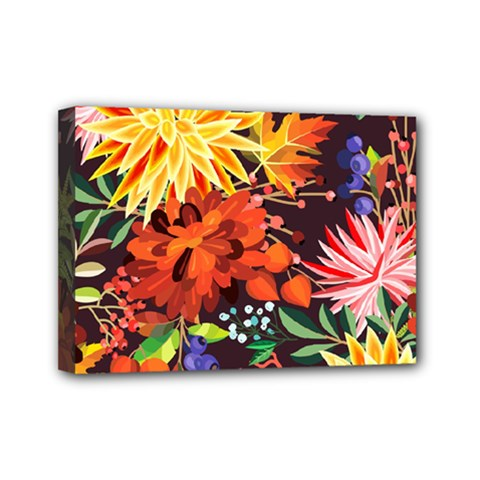 Autumn Flowers Pattern 2 Mini Canvas 7  X 5  by tarastyle