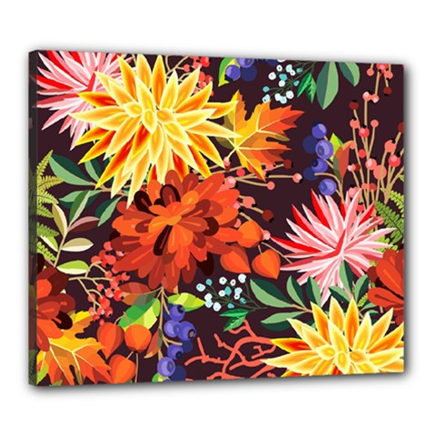 Autumn Flowers Pattern 2 Canvas 24  X 20  by tarastyle