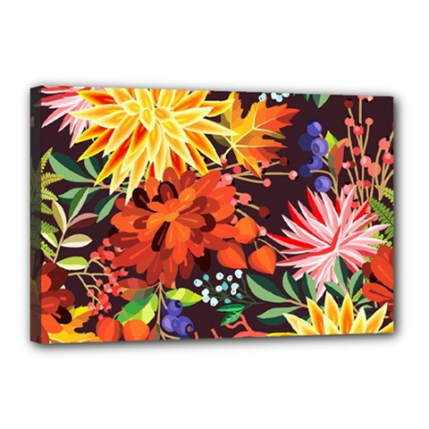 Autumn Flowers Pattern 2 Canvas 18  X 12  by tarastyle