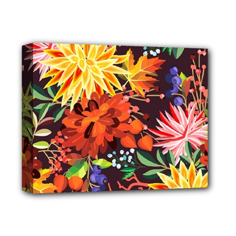 Autumn Flowers Pattern 2 Deluxe Canvas 14  X 11  by tarastyle