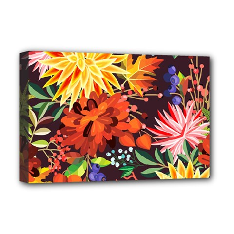 Autumn Flowers Pattern 2 Deluxe Canvas 18  X 12   by tarastyle
