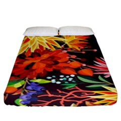 Autumn Flowers Pattern 2 Fitted Sheet (king Size) by tarastyle
