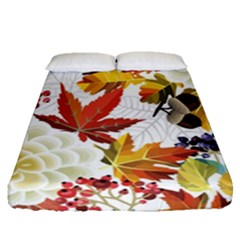 Autumn Flowers Pattern 3 Fitted Sheet (queen Size) by tarastyle