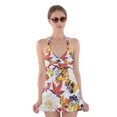 Autumn Flowers Pattern 3 Halter Dress Swimsuit  by tarastyle