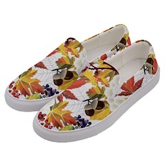 Autumn Flowers Pattern 3 Men s Canvas Slip Ons by tarastyle