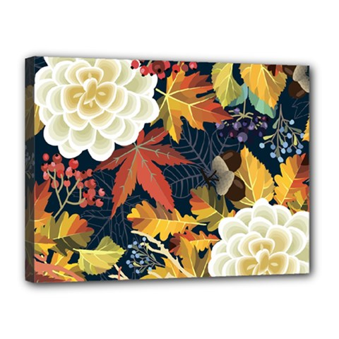 Autumn Flowers Pattern 4 Canvas 16  X 12  by tarastyle