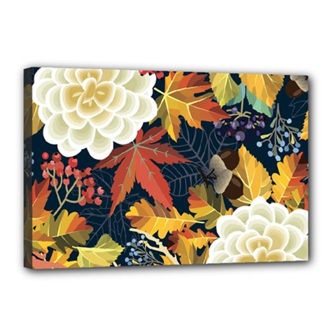 Autumn Flowers Pattern 4 Canvas 18  X 12  by tarastyle