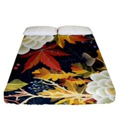 Autumn Flowers Pattern 4 Fitted Sheet (queen Size) by tarastyle
