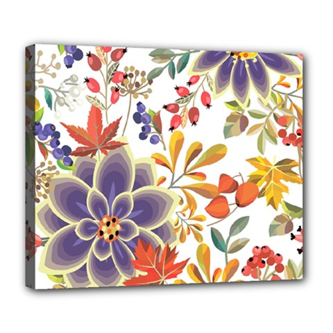 Autumn Flowers Pattern 5 Deluxe Canvas 24  X 20   by tarastyle