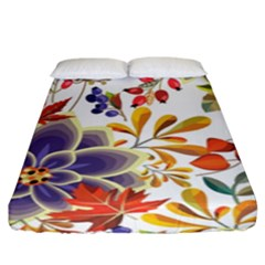 Autumn Flowers Pattern 5 Fitted Sheet (king Size) by tarastyle