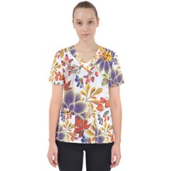 Autumn Flowers Pattern 5 Scrub Top by tarastyle