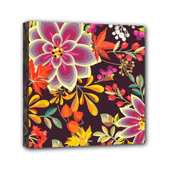 Autumn Flowers Pattern 6 Mini Canvas 6  x 6
