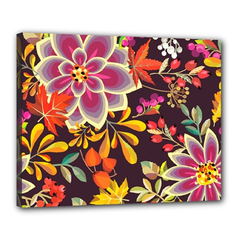 Autumn Flowers Pattern 6 Canvas 20  X 16  by tarastyle