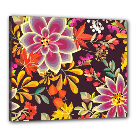 Autumn Flowers Pattern 6 Canvas 24  X 20  by tarastyle