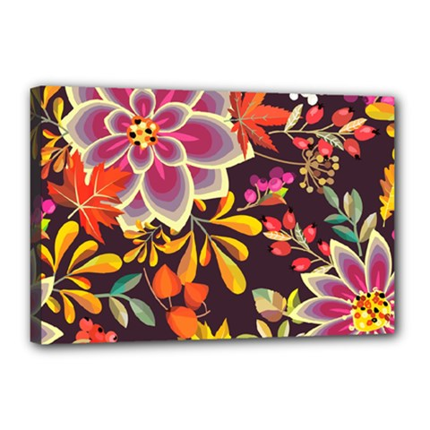 Autumn Flowers Pattern 6 Canvas 18  X 12  by tarastyle