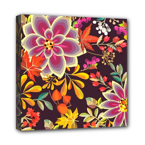 Autumn Flowers Pattern 6 Mini Canvas 8  X 8  by tarastyle