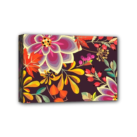 Autumn Flowers Pattern 6 Mini Canvas 6  X 4  by tarastyle