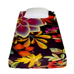 Autumn Flowers Pattern 6 Fitted Sheet (single Size) by tarastyle