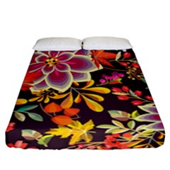 Autumn Flowers Pattern 6 Fitted Sheet (california King Size) by tarastyle