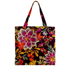 Autumn Flowers Pattern 6 Zipper Grocery Tote Bag by tarastyle