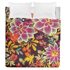 Autumn Flowers Pattern 6 Duvet Cover Double Side (queen Size) by tarastyle