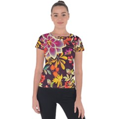 Autumn Flowers Pattern 6 Short Sleeve Sports Top  by tarastyle