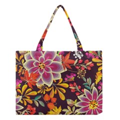 Autumn Flowers Pattern 6 Medium Tote Bag by tarastyle