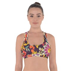 Autumn Flowers Pattern 6 Cross Back Sports Bra by tarastyle
