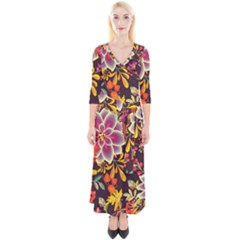 Autumn Flowers Pattern 6 Quarter Sleeve Wrap Maxi Dress