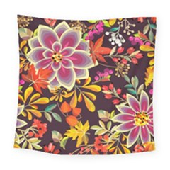 Autumn Flowers Pattern 6 Square Tapestry (large) by tarastyle