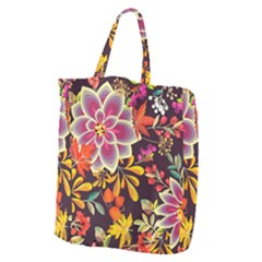 Autumn Flowers Pattern 6 Giant Grocery Zipper Tote by tarastyle