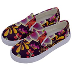 Autumn Flowers Pattern 6 Kids  Canvas Slip Ons by tarastyle