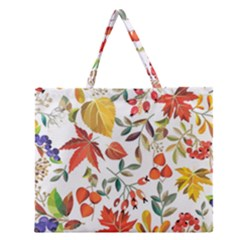 Autumn Flowers Pattern 7 Zipper Large Tote Bag by tarastyle