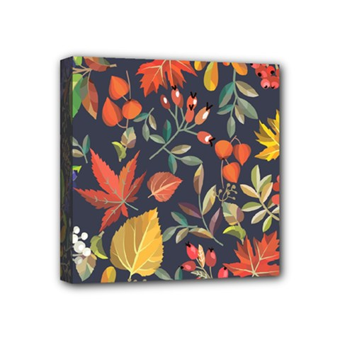 Autumn Flowers Pattern 8 Mini Canvas 4  X 4  by tarastyle
