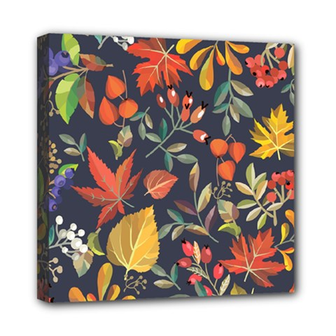 Autumn Flowers Pattern 8 Mini Canvas 8  X 8  by tarastyle