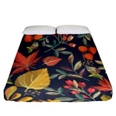 Autumn Flowers Pattern 8 Fitted Sheet (queen Size) by tarastyle