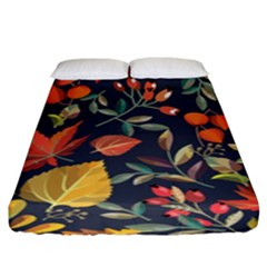 Autumn Flowers Pattern 8 Fitted Sheet (king Size) by tarastyle