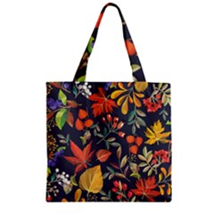 Autumn Flowers Pattern 8 Zipper Grocery Tote Bag by tarastyle