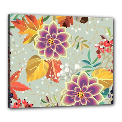 Autumn Flowers Pattern 9 Canvas 24  X 20  by tarastyle