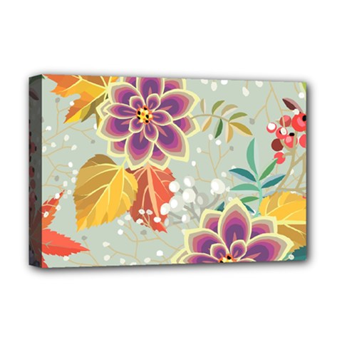 Autumn Flowers Pattern 9 Deluxe Canvas 18  X 12   by tarastyle
