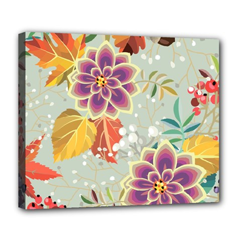 Autumn Flowers Pattern 9 Deluxe Canvas 24  X 20   by tarastyle