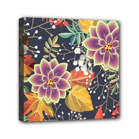 Autumn Flowers Pattern 10 Mini Canvas 6  X 6  by tarastyle