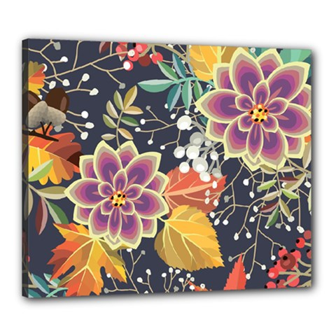 Autumn Flowers Pattern 10 Canvas 24  X 20  by tarastyle