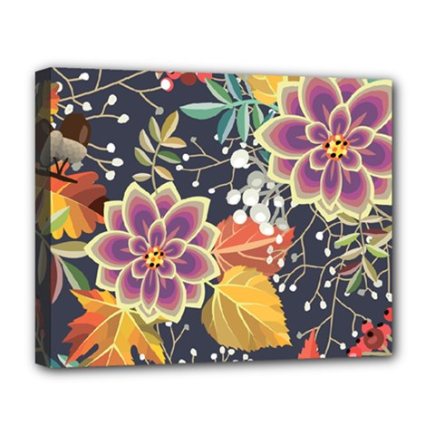 Autumn Flowers Pattern 10 Deluxe Canvas 20  X 16   by tarastyle