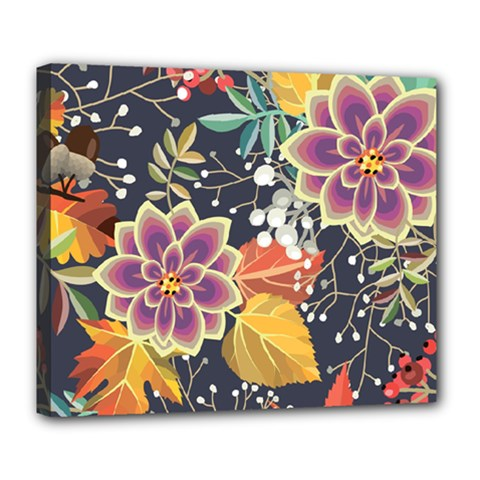 Autumn Flowers Pattern 10 Deluxe Canvas 24  X 20   by tarastyle