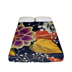 Autumn Flowers Pattern 10 Fitted Sheet (full/ Double Size) by tarastyle