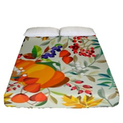 Autumn Flowers Pattern 11 Fitted Sheet (queen Size) by tarastyle