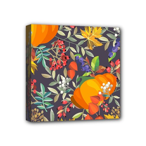Autumn Flowers Pattern 12 Mini Canvas 4  X 4  by tarastyle