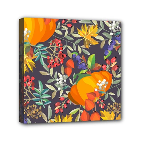 Autumn Flowers Pattern 12 Mini Canvas 6  X 6  by tarastyle