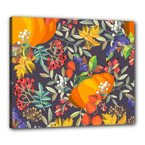 Autumn Flowers Pattern 12 Canvas 24  X 20  by tarastyle